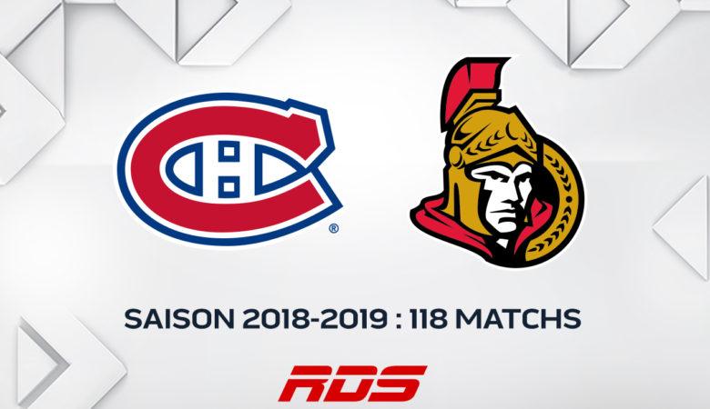 118 matchs des Canadiens de Montréal et des Sénateurs d'Ottawa diffusés sur les chaînes de RDS