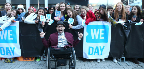 ME to WE motivational speaker, Free The Children ambassador and author, Spencer West, arrives on the WE Day Toronto Red Carpet outside of the Air Canada Centre on October 1, 2015. Photo Credit: Chris Young/Canadian Press