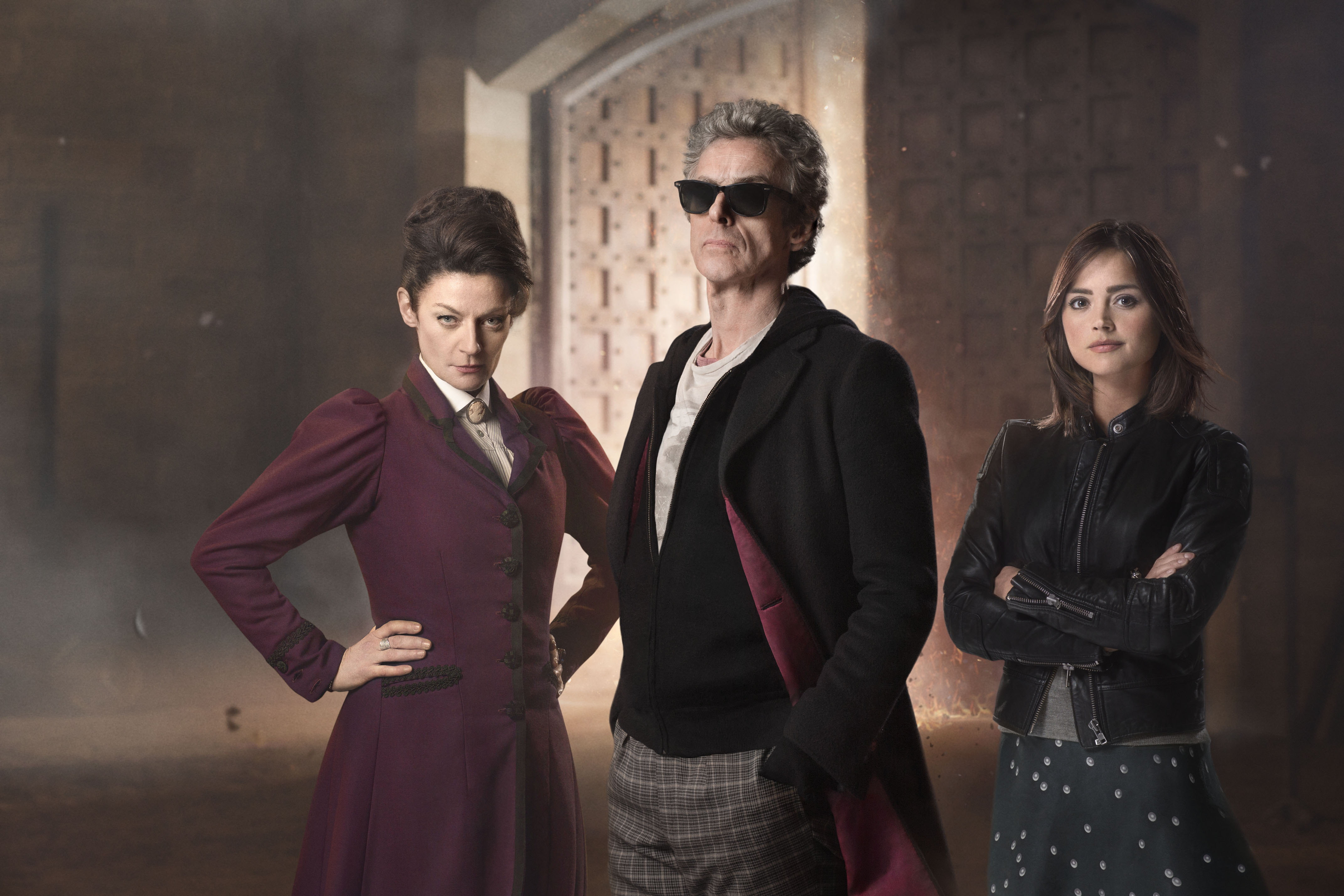 Picture shows: Michelle Gomez as Missy, Peter Capaldi as the Doctor and Jenna Coleman as Clara