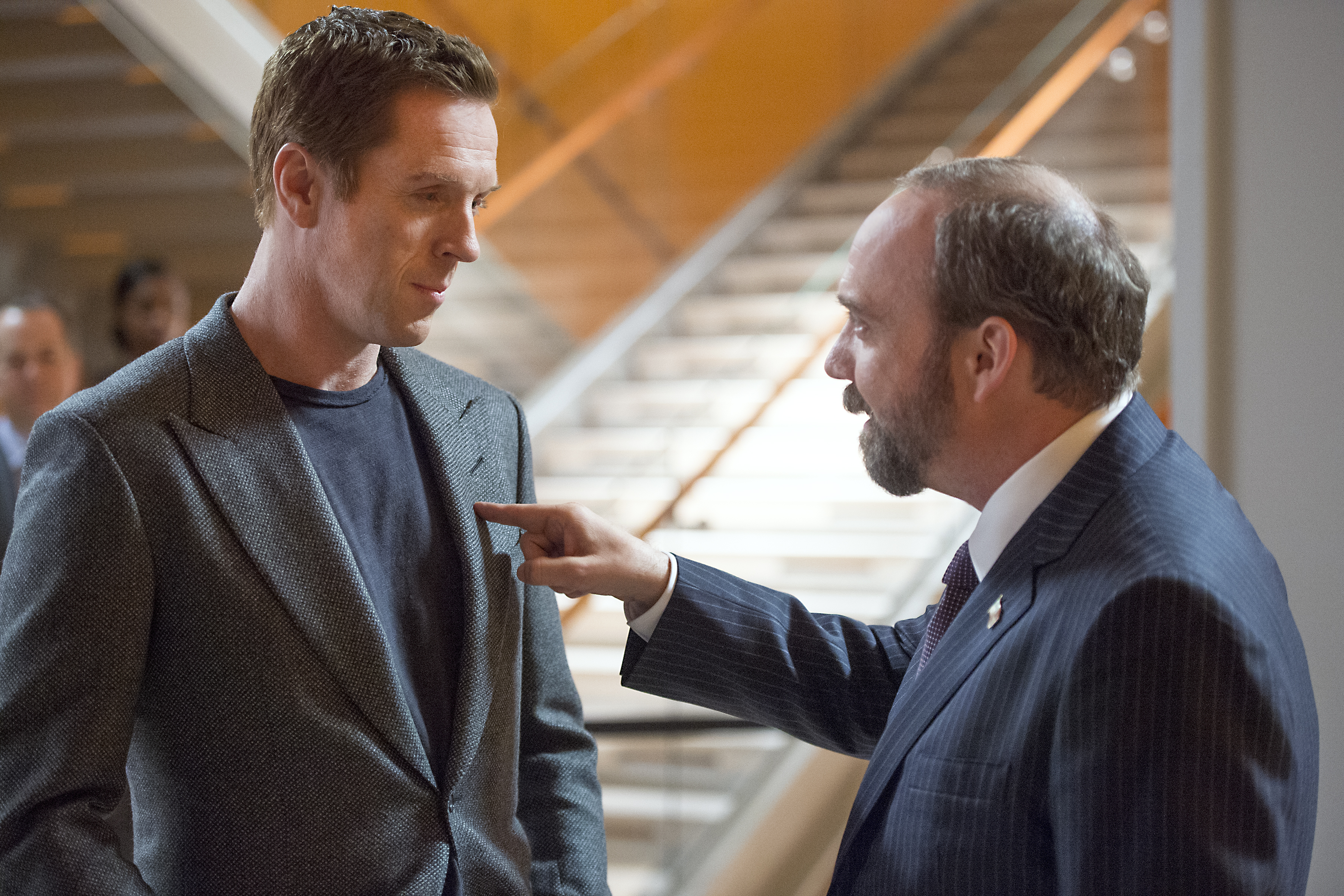 Paul Giamatti and Damian Lewis star in upcoming series Billions. (Credit: Showtime)