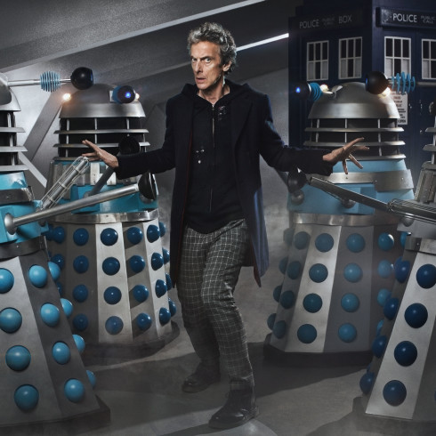 Picture shows: Peter Capaldi as the Doctor with Daleks