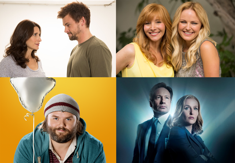(Clockwise from top left: Michaela Watkins and Tommy Dewey in CASUAL, Lisa Kudrow and Malin Akerman in THE COMEBACK, Tyler Labine in DEADBEAT, David Duchovny and Gillian Anderson in THE X-FILES)