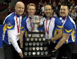 Ottawa Ont.Mar 13, 2016.Tim Hortons Brier.Alberta skip Kevin Koe, third Marc Kennedy, second Brent Laing, lead Ben Hebert, Curling Canada/ michael burns photo